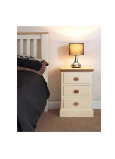 Cornish Painted with Oak Top Narrow Bedside Table