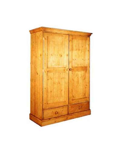 Cornish Double Pine Wardrobe With Drawers