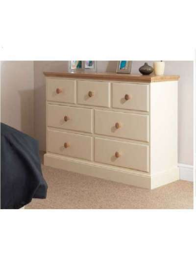 Cornish Painted With Oak Top 7 Drawer Multi Chest
